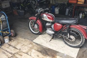 Motorbike standing in garage