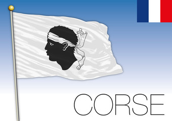 Corsica regional flag, France, vector illustration