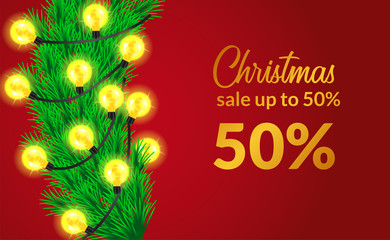 Merry Christmas sale template for flyer poster banner design with illustration of leaves garland with luminous lamp