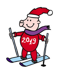 Cartoon drawing: 2019 - the year of the pig. Piggy in a New Year's cap and on skis with an inscription 2019. Vector illustration.