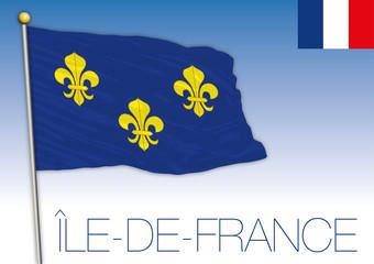 Ile de France regional flag, France, vector illustration