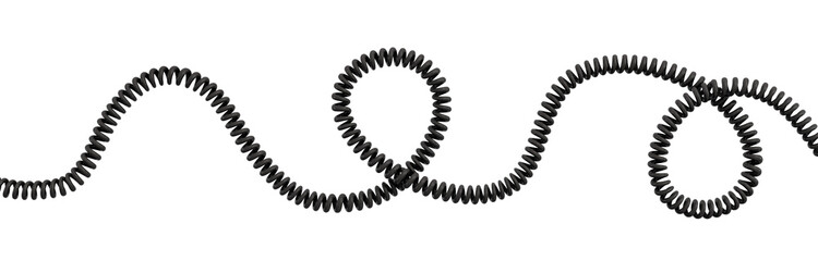 3d rendering of a single curved spiral cable lying on a white background.