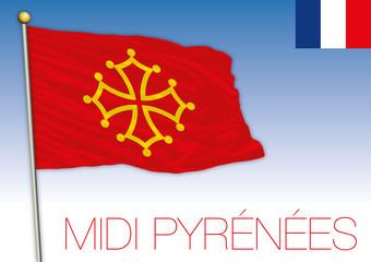 Midi Pyrenees regional flag, France, vector illustration