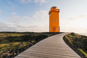 Sunset at Svortuloft Lighthouse,  Snaefellsnes peninsula, Iceland