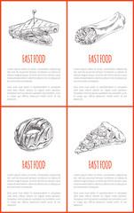 Fast Food Donut Sandwich Set Vector Illustration
