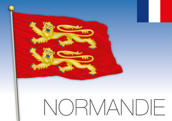 Normandie regional flag, France, vector illustration