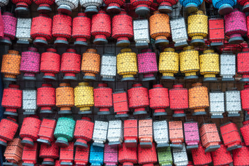 Many colorful chinese lanterns, China