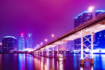 Macao cityscape skyline at night in China.