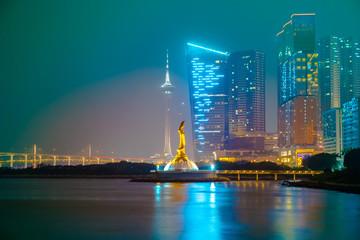 Golden Guan Yin Statue in Macao Peninsula