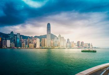 Skyline and Victoria Harbor, Hong Kong. View from Kowloon.