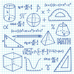 Doodle maths and geometry concept. Trigonometry functions, charts and mathematical formulas. Vector school education background. Mathematics formula and geometry function illustration