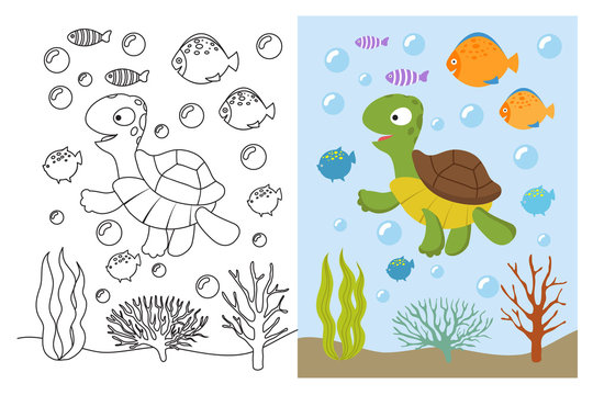 Turtle coloring pages. Cartoon swimming sea animals underwater. Vector illustration for kids coloring book. Underwater sea, turtle animal and fish