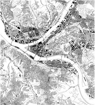 Mappa satellitare di Pittsburgh, in Pennsylvania, strade della città. Mappa stradale, centro città. Stati Uniti d'America