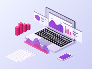 Business app isometric concept. 3d laptop and smartphone with data charts and statistics diagrams. Mobile technology vector background. Laptop infographic, chart 3d and graph information illustration