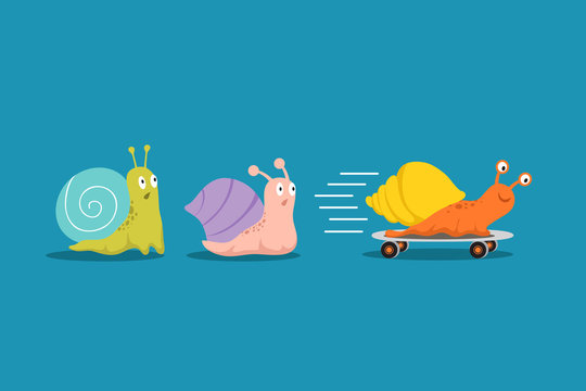 Fast and slow snails. Snail with wheels overtakes others in race. Competitive advantages business vector concept. Colored snail with shell house, slug moving illustration