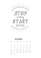 Calendar 2019 with motivational lettering