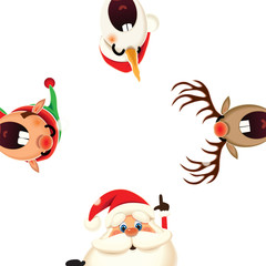 Christmas companion-Santa Claus,Snowman,Reindeer and Elf isolated on a white background