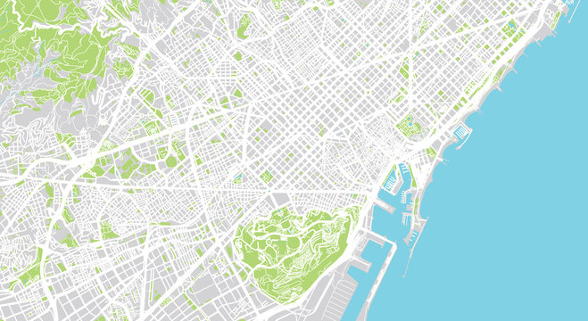 Urban vector city map of Barcelona, Spain