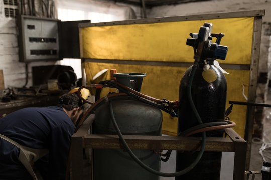Gas cylinder in workshop