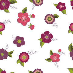 Seamless pattern with flower romantic elements.