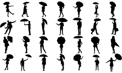 a collection of male and female style silhouettes with umbrellas