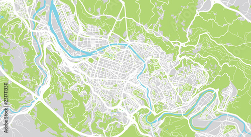 Urban Vector City Map Of Bilbao Spain Stock Image And Royalty Free
