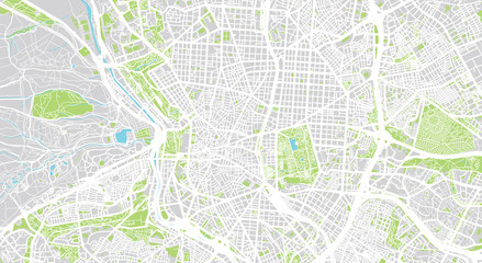 Urban vector city map of Madrid, Spain