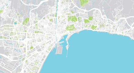 Urban vector city map of Malaga, Spain