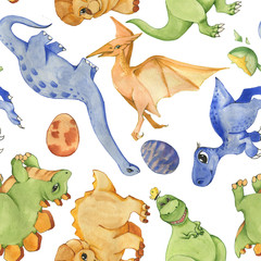 Hand drawn watercolor seamless pattern with cute dinosaurs. Historical reptiles. Dinosaurs - cartoon character. Illustration for children. Repeated background