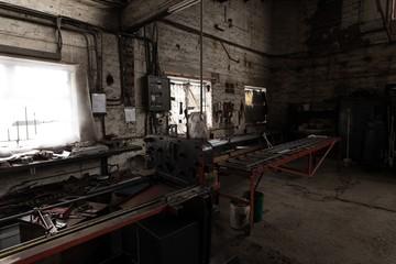 Metal tool and equipment in workshop