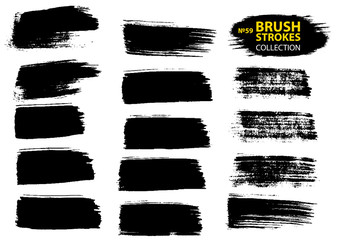 Black ink vector brush strokes. Black isolated paintbrush collection. Brush strokes isolated