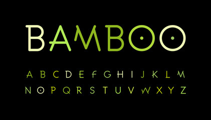 Fotomurales - Green nature alphabet. Bamboo branch style typeset. Tropical forest font. Natural asian forest, set of letters. Thin Vector symbols.