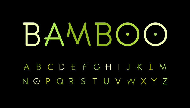 Green nature alphabet. Bamboo branch style typeset. Tropical forest font. Natural asian forest, set of letters. Thin Vector symbols.