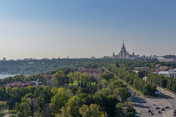 main building of Moscow State University and parks on Vorobiev embankment of Moscow river