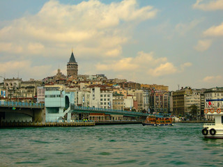 The view of Istanbul city, Galata Tower, Golden Horn