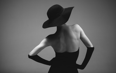 Retro styled woman in black and white