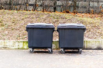 dark container or waste collection box. garbage. trash can