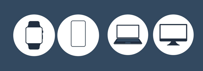 Device Icons. Set of computer monitor, laptop, smart watch, tablet and mobile phone icon. Vector isolated simple electronic gadgets.