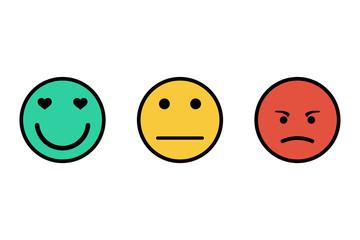 Feedback emoticon flat design icon set. Positive, negative and neutral faces collection. Smile icon