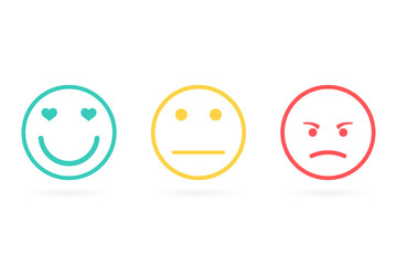 emotions Positive, negative and neutral faces. Red, yellow, green smileys emoticons icon negative, neutral and positive, different mood. Outline design. Vector illustration.Smile icon