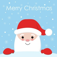 Cute Cartoon Christmas Card with Santa Claus - vector illutration kawai