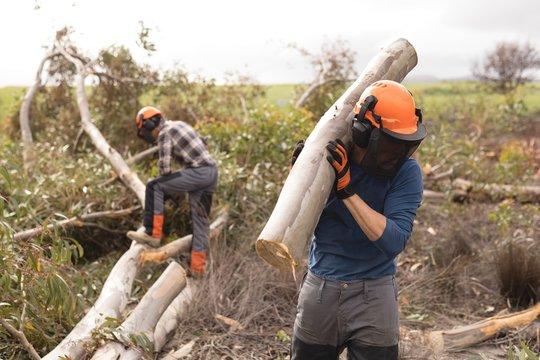 Lumberjack carrying wooden log