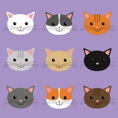 Cute cats heads vector illustration. Cartoon character.