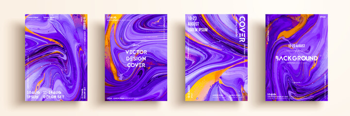 Fototapete - Artistic textures for digital design. Fluid colors backgrounds. Set of vector cards for brand identities, invitation designs, packaging, labels, business cards, and interactive web backgrounds