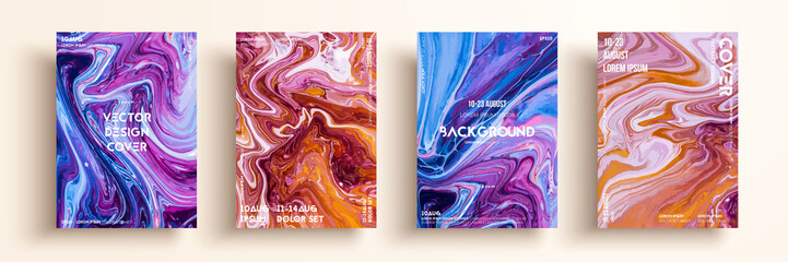 Artistic covers design. Liquid marble texture. Creative fluid colors backgrounds. Applicable for design covers, presentation, invitation, flyers, annual reports, posters and business cards