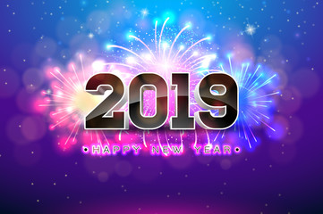 Happy New Year 2019 illustration with fireworks and 3d number on blue background. Vector Holiday design for flyer, greeting card, banner, celebration poster, party invitation or calendar.