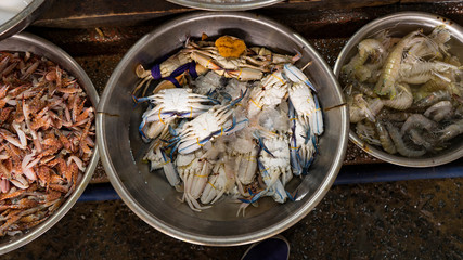 Vietnamese seafoodmarket with different fishes, oysters,crabs,sharks and many others sea creatures. Wonderful place for tourists in Vietnam who wants to buy some exotic food.The gifts of Asia ocean.