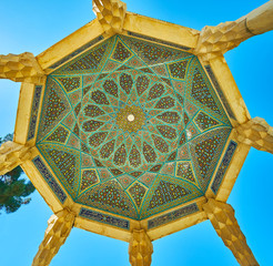 The dome of Hafez Tomb pavilion, Shiraz, Iran