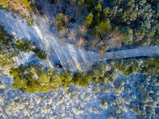 drone image. aerial view of rural area with fields and forests in winter