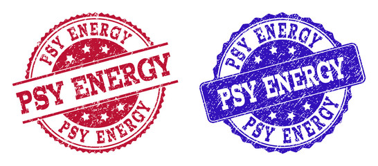 Grunge PSY ENERGY seal stamps in blue and red colors. Stamps have draft style. Vector rubber imitation with Psy Energy text. Illustration design includes round, rounded rectangle, rosette, line items.